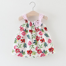 Kids Dresses for Girls Summer Beach Dresses for Children Floral Princess dress Baby Kids Summer Clothes