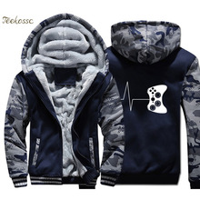 Heartbeat Of Game Hoodie Men Funny Gaming Hooded Sweatshirts Coat 2018 Winter Fleece Thick Video Jacket Hip Hop Streetwear
