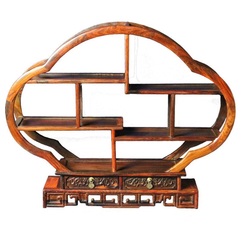 Shengwei technologie Laos rouge bois antique Ming et Qing prune étagère multi-compartiments trésor mon niveau de décoration
