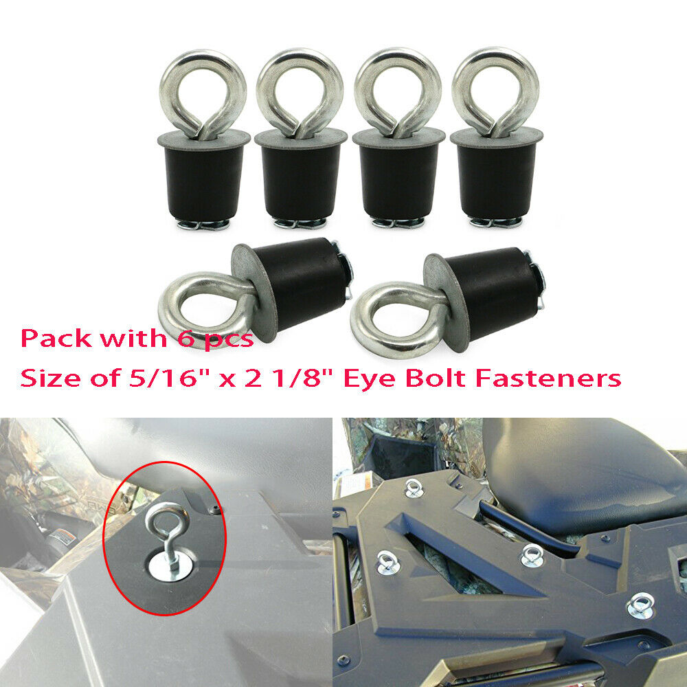 6pcs Lock And Ride Type Tie Down Fasteners For Polaris Sportsman RZR ACE ATV's Snowmobile Cargo Racks And Other ATV's W/ 1