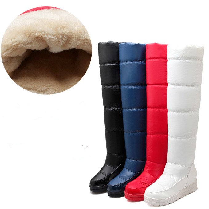 Thigh High Over The Knee Snow Boots Womens Winter Warm Fur Shoes Women Solid Color Casual Waterproof Non-slip Plush Wedges Botas womens lace up over knee high suede women snow boots fashion zipper round toe winter thigh high boots shoes woman