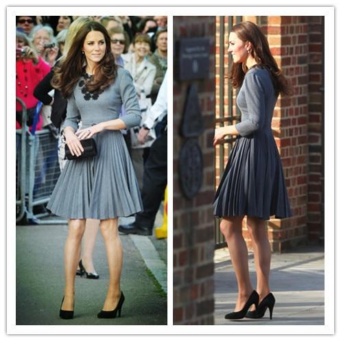 Принцесса Кейт Миддлтон же стиль бренд ручной работы Stick цветок платье с длинными рукавами весенние модные женские туфли kate платья цветочным