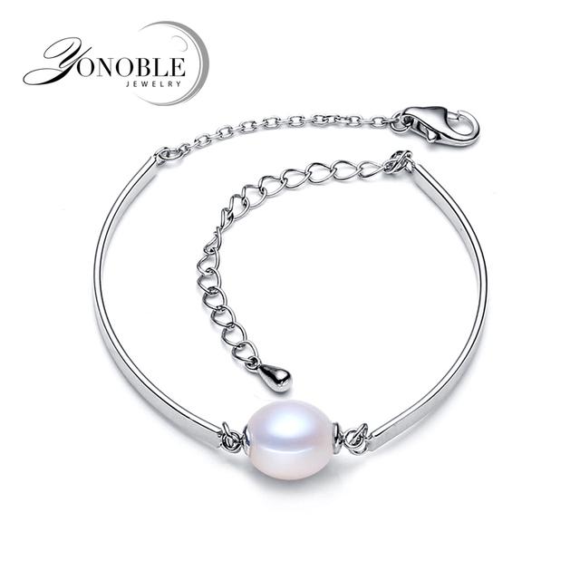 Verdadeira pérola pulseira para as mulheres, 925 pulseira de prata esterlina homens, água doce da pérola pulseira jóias de casamento presente de aniversário da menina ouro