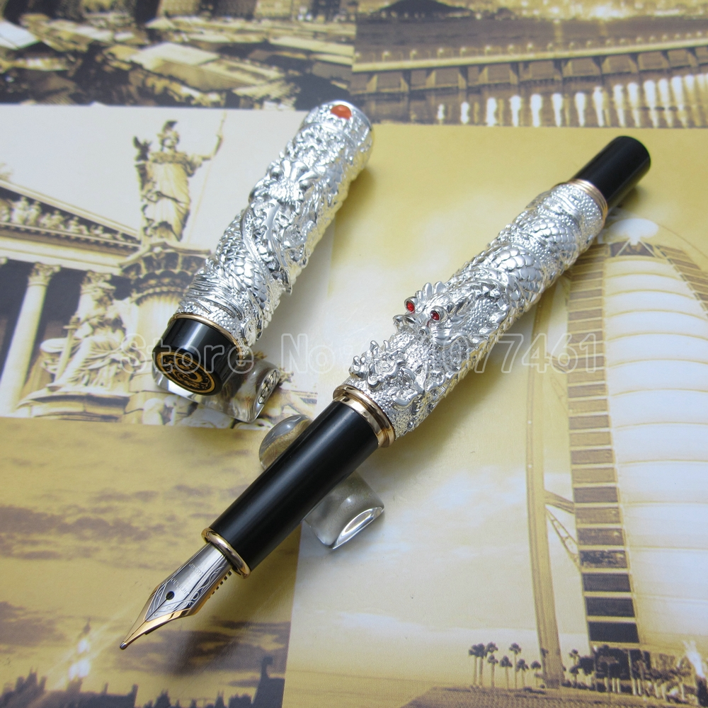 Jinhao Chinese double Dragons Playing With The Pearl Beautiful Advanced Fountain Pen with Gift Box Gold Silver Optional J35F5 9901 fine financia pen student pen art fountain pen 0 38 0 5 0 8mm optional gift box set