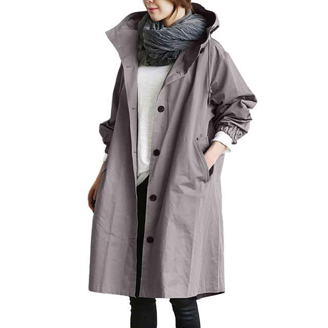 Womens Kış Gevşek Kapüşonlu Vahşi Ceket Zarif Rüzgarlık Rahat Ceket Dış Giyim Bayan katı renk Palto jaqueta feminina