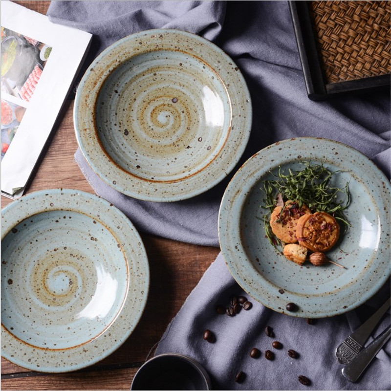 Blue Ceramic Sanding Wide Side Coarse Pottery Pasta Dish Western Plate Soup Plate Family Dish Plate
