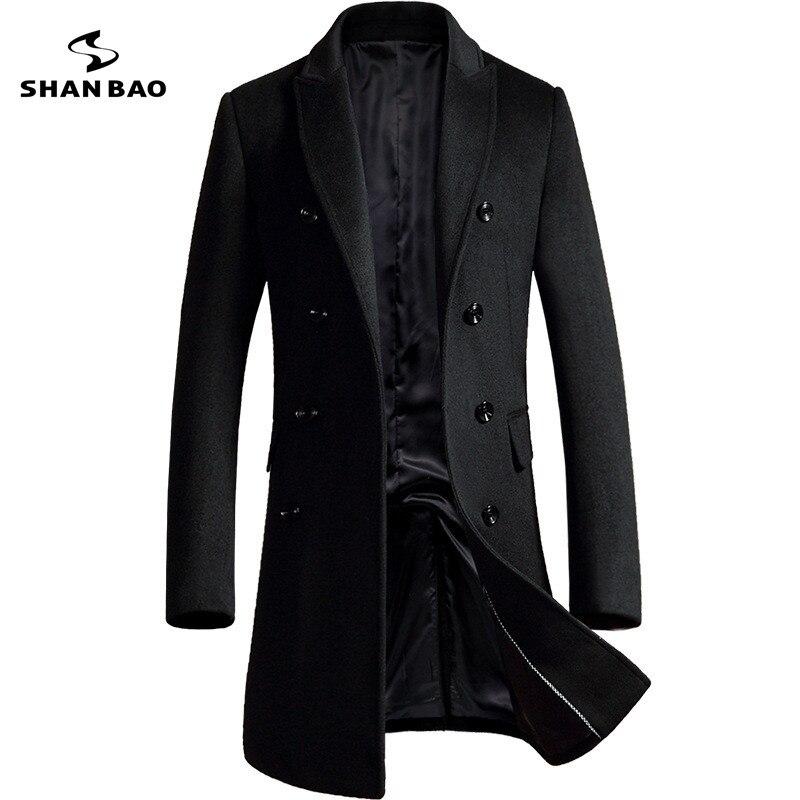 SHANBAO бренда двубортное шерстяное пальто 2018 г. зимние плотные теплые роскошные деловая повседневная мужская куртка slim Пальто Черный Серый