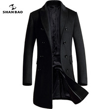 SHANBAO бренд двубортное шерстяное пальто 2018 зима толстые теплые роскошные деловые повседневные мужские тонкие куртки пальто черный серый