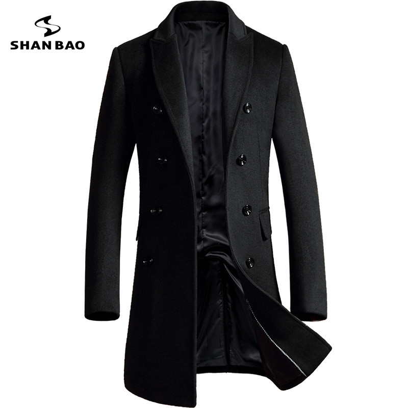 SHANBAO brand double breasted wool coat 2018 winter thick warm warm luxury business casual men's slim jacket coat black gray