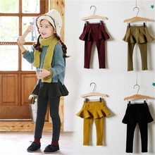 Kids Baby Girls Toddlers Leggings Cotton Solid Pants Trousers Dress Ruffles Skirt Culottes Warm Fit for 1-4T Fall Wear