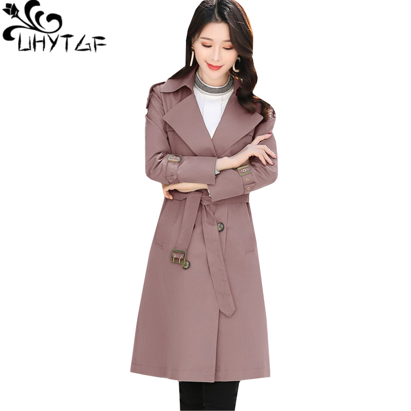 UHYTGF Woman's spring   trench   coat Fashion Youth Female double-breasted slim long coats Loose plus size windbreaker outerwear 550