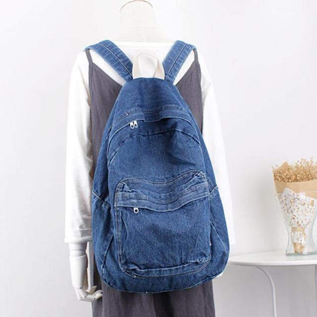 Denim Backpack Women blue Schoolbag cute child School Backpacks Jeans  canvas Backpacks For Teenage Girls dfcb0cb9b4