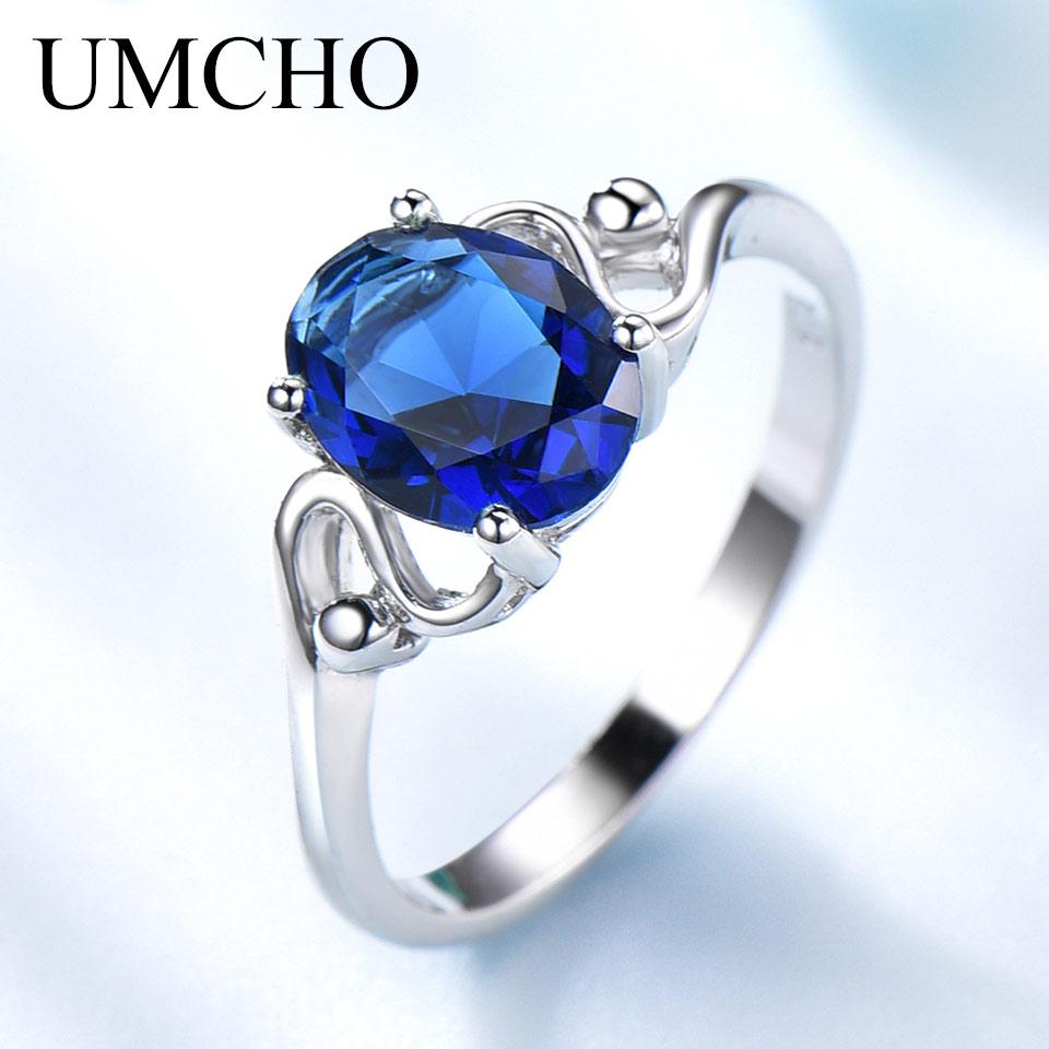 umcho blue sapphire gemstone rings for women genuine 925. Black Bedroom Furniture Sets. Home Design Ideas