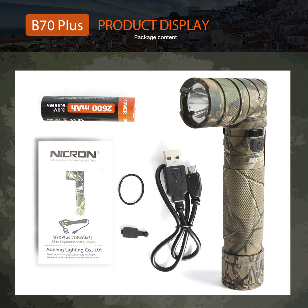 Купить с кэшбэком NICRON Magnet 90 Degree Rechargeable LED Flashlight Handfree 800LM Ultra High Brightness Waterproof Camo Corner LED Torch B70