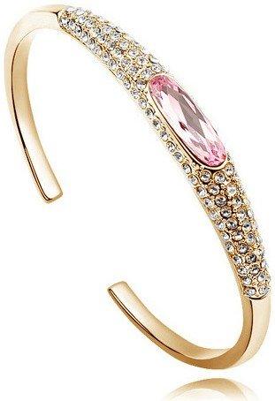 Австрийский Кристалл глаз тапочки AAAA+ стразы манжета жесткий Браслет Подарочный качество модные ювелирные изделия Прямая поставка Новое поступление - Окраска металла: gold pink