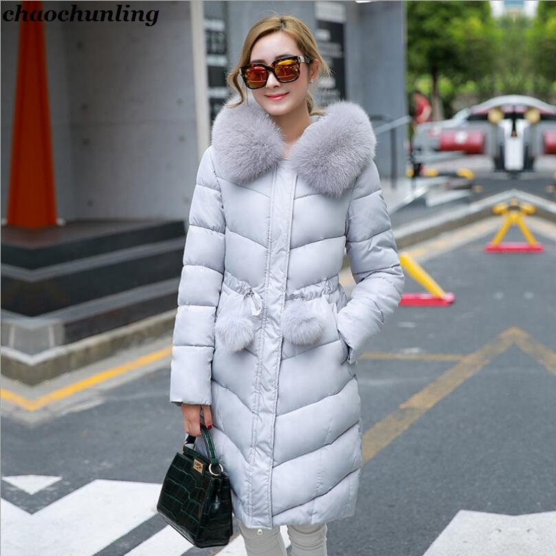 Lady Hooded Coat 2017 New Winter Korean Lady Fashion Long Down Jacket With Imitation Fox Fur Hat Pink Gray And Black 3 Colors england style 2017 new winter lady hooded balls jackets pink red black gray and blue lady down jackets imitation fox fur hat
