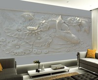custom 3d wallpaper Relief three dimensional pond Pisces picture customized wallpaper for walls living 3d wallpaper