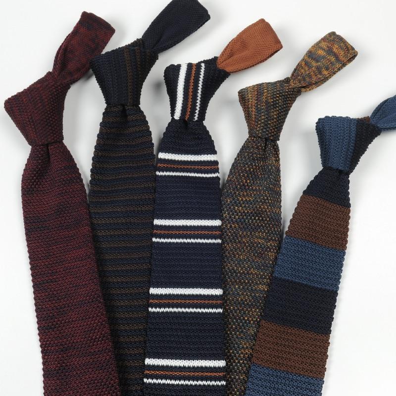 6-7cm Fashion Men's Tie Casual Wool Knit Wild Pointed Necktie Gifts For Men Party Wedding Groomsmen Ties Daily Wear Neck Tie