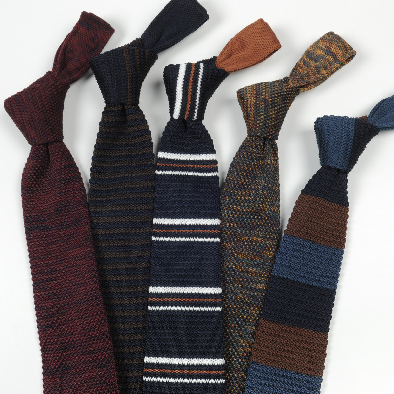 7cm Fashion Men's Dress Tie Casual Wool Knit Wild Pointed Necktie Gifts For Men Party Wedding Groomsmen Ties Daily Wear Neck Tie
