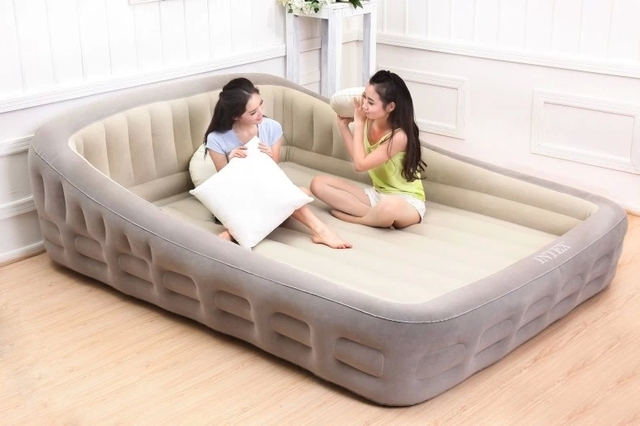 airbed indoor inflatable beds king pump plush bed air comfort ...