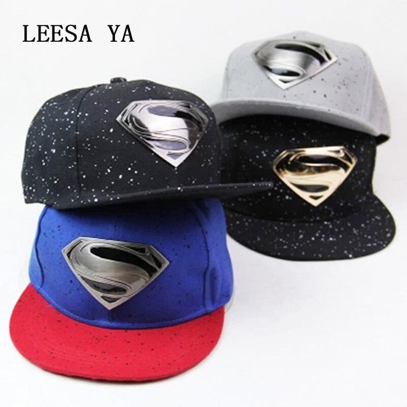 цены на Superman Snapback Brand Hat Gorras Planas Baseball Cap Hip Hop Caps Gorro For Men Women Casquette Superman Hats Chapeau Homme