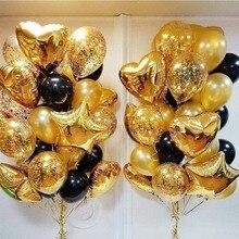Globos con confeti dorado y estrella de 18 pulgadas, globo de aluminio con corazón, fiesta de cumpleaños, globo de látex negro y dorado, decoración de boda