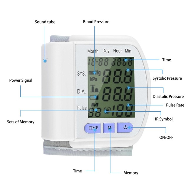 Automatic Digital Arm Blood Pressure Monitor Automatic Sphygmomanometer Gauge Meter Tonometer for Measuring Arterial Pressure 3