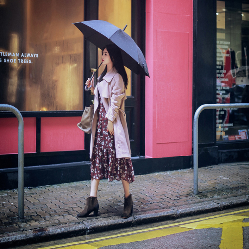 Robe Boutonnage V Rouge cou Femmes À Imprimé Vintage Mousseline Automne Vêtements Mode Soie Longues Vin En Floral Bourgogne De Manches Sirène Simple raBrxRw
