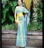 High Quality Thailand traditional clothing Blue Thailand Receptionist uniforms RH33011