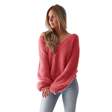 2019 New Winter Clothes Women Open Back Loose Sweater Top Long Sleeve V-neck Sueter Feminino
