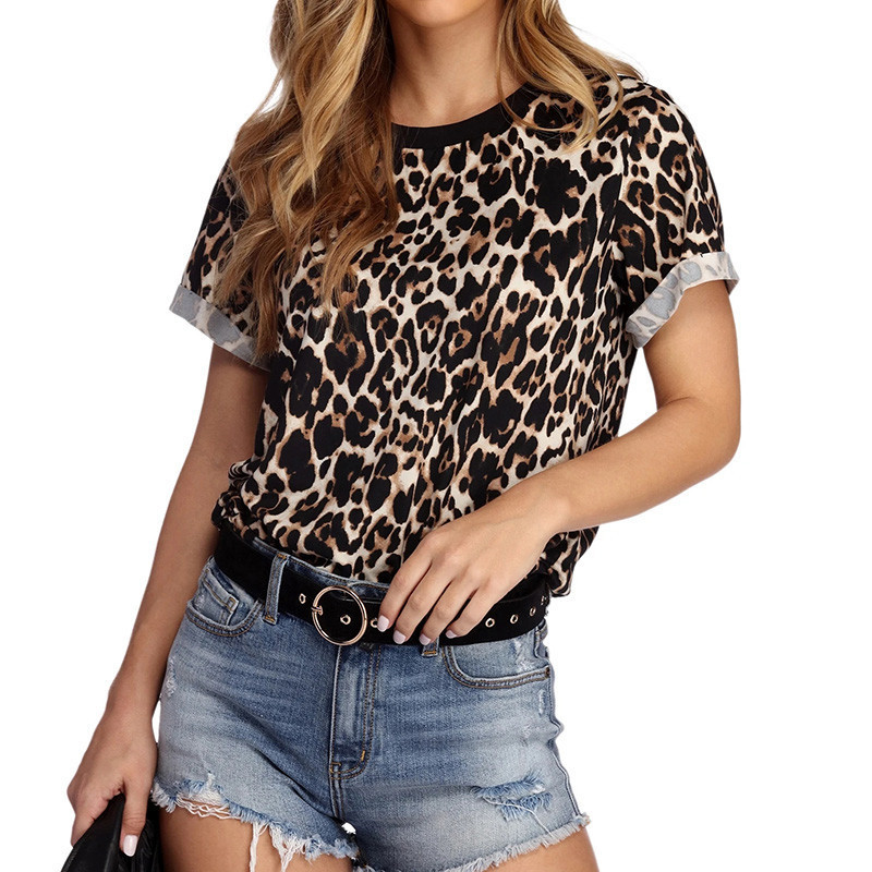<font><b>2019</b></font> <font><b>Fashion</b></font> Leopard O Neck T Shirt Short Sleeve Casual <font><b>Tops</b></font> Tees <font><b>Sexy</b></font> Casual T-shirt Camisas Mujer Women Summer T shirt XS XXXL image