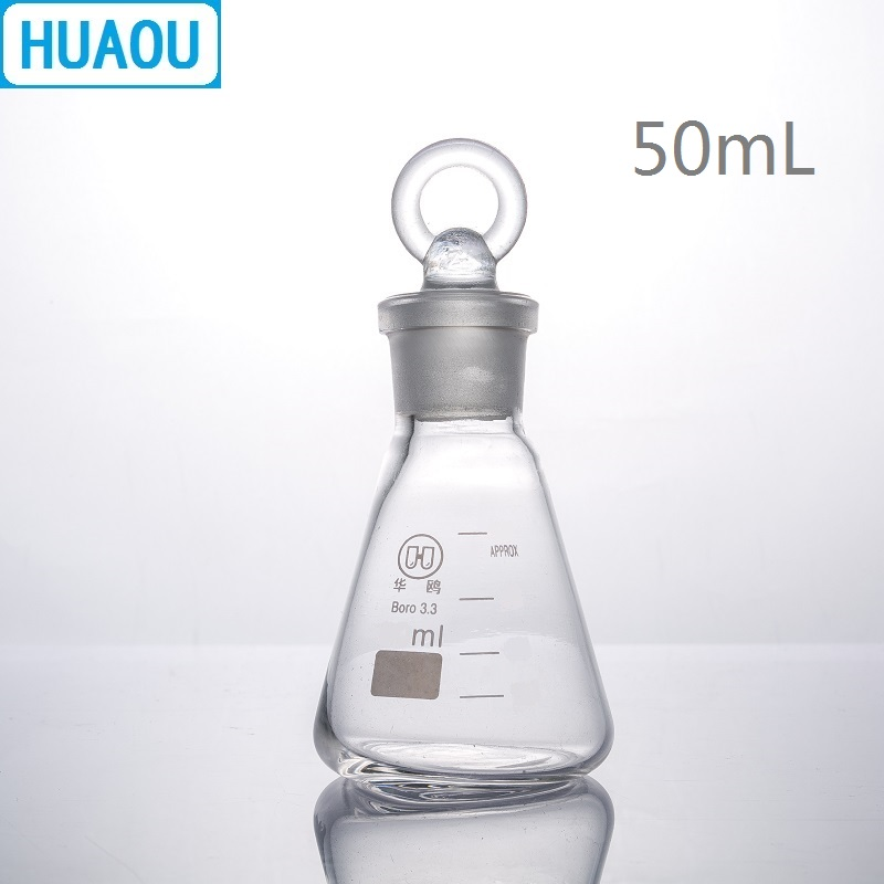 HUAOU 50mL Conical Flask Borosilicate 3.3 Glass With Ground In Glass Stopper Laboratory Chemistry Equipment