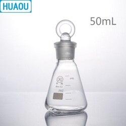 HUAOU 50mL kolba stożkowa borokrzemian 3.3 szkło z ziemią w szklanym korku laboratorium chemii sprzętu