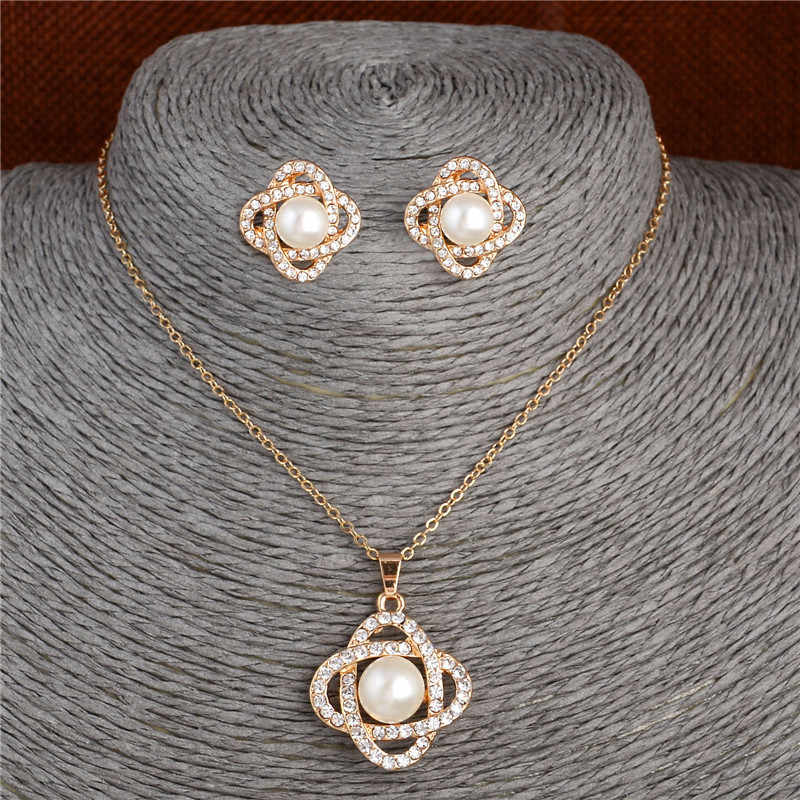 ZOSHI 2019 simulated Pearl Jewelry Sets Golden Plated Chain Pendant Necklace Studs Earrings Whole Set Fashion Jewelry Wedding