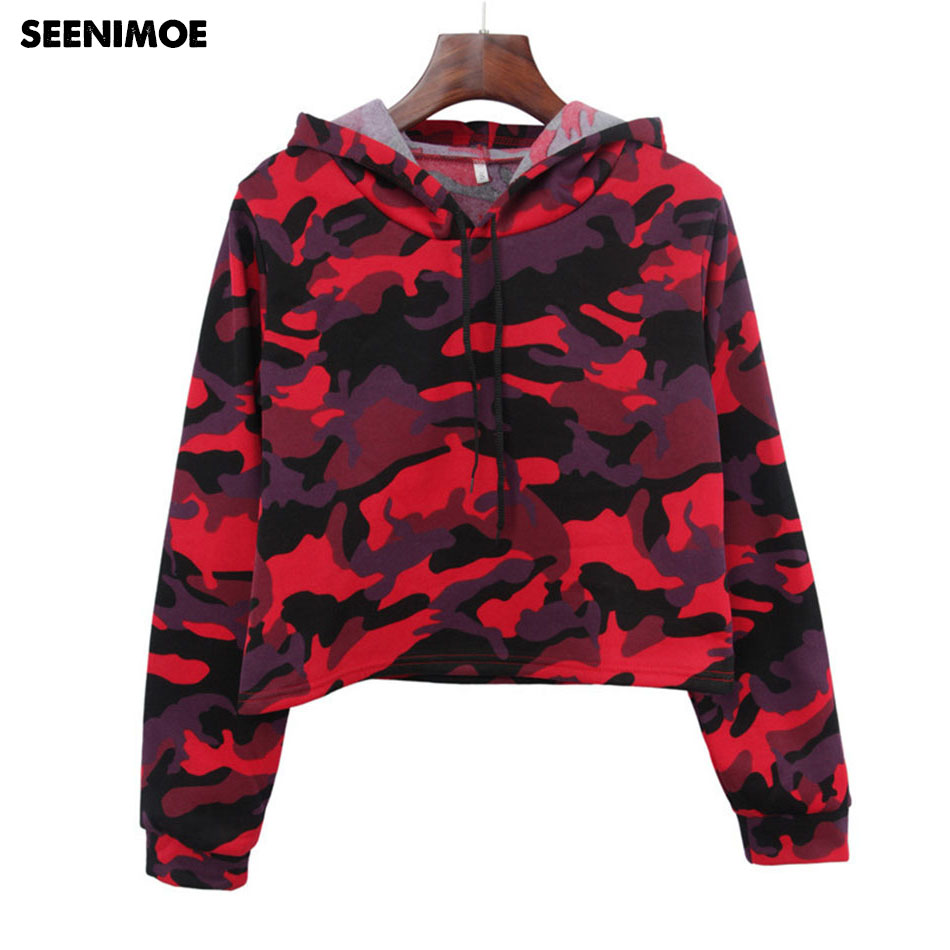 2018 Sexy Camo Girls Hoodies Summer Long Sleeve Ladies Sweatshirts With cap Slim Workout Street wear Hoodie Women Clothes Tumblr