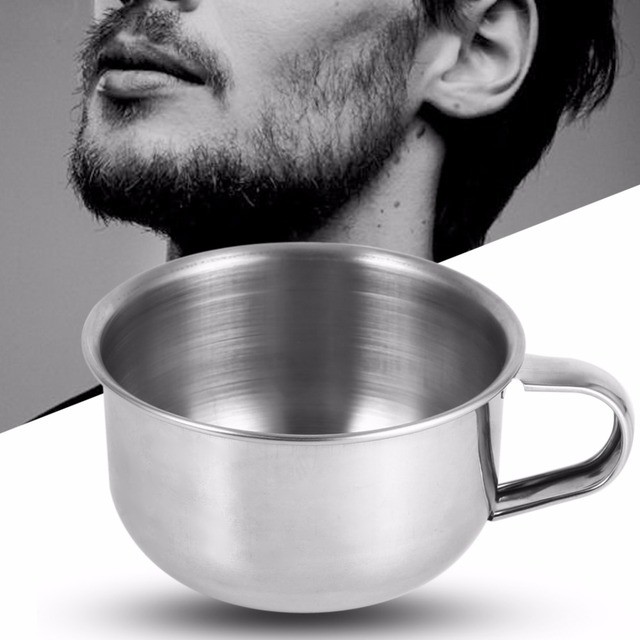 1Pc New Stainless Steel Metal Shaving Soap Mug Bowl Cup Shaver Razor Cleansing Foam Tool For Man