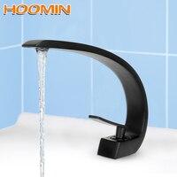 HOOMIN Single Handle Hole Bathroom Fixture Bathroom Faucets Washbasin Faucet Brass Chrome Elegant Crane Tap Hot Cold Water