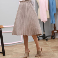 Korean 100% Pure Cashmere Pleated Skirt Long High Waist Elastic Autumn Winter Women Knitted Knee length Loose Ladies Knit Skirt