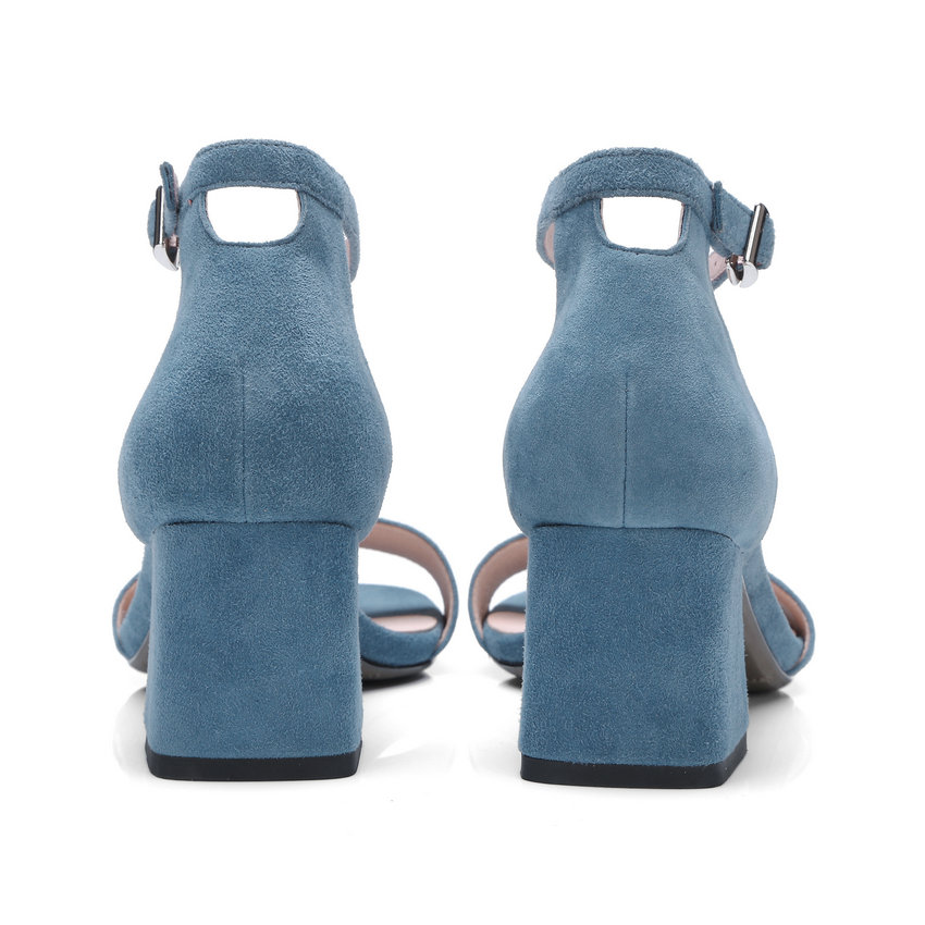 Femme Mariage Plate 42 Talon De En D'été Nesimoo Carré bleu Femmes Peau Noir Dames Taille Chaussures Haut 34 Mouton 2018 Cuir forme Sandales 6px6Xwaq