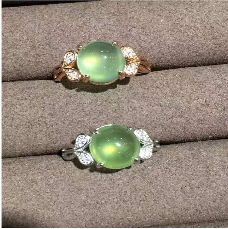 Natual Prehnite  Ring Free shipping Natural real Prehnite Ring 925 sterling silver Gem Size 9*11mm for Woman Or ManNatual Prehnite  Ring Free shipping Natural real Prehnite Ring 925 sterling silver Gem Size 9*11mm for Woman Or Man