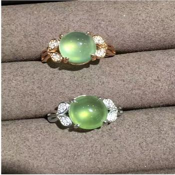 Natual Prehnite  Ring Free shipping Natural real Prehnite Ring 925 sterling silver Gem Size 9*11mm for Woman Or Man