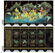 Folding Screen 6 Panel Double Side Souvenir Eight Fairies Immortals Crossing Sea