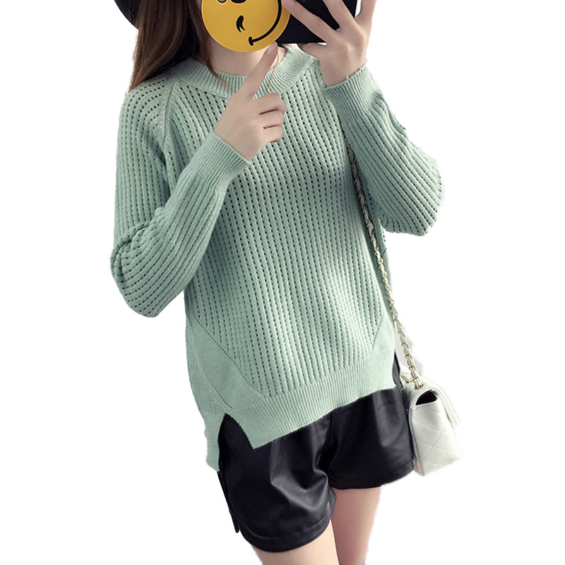 The new fashion sweater women Round neck sweater a blouse with a loose pure color and a knitted sweater christmas sweater