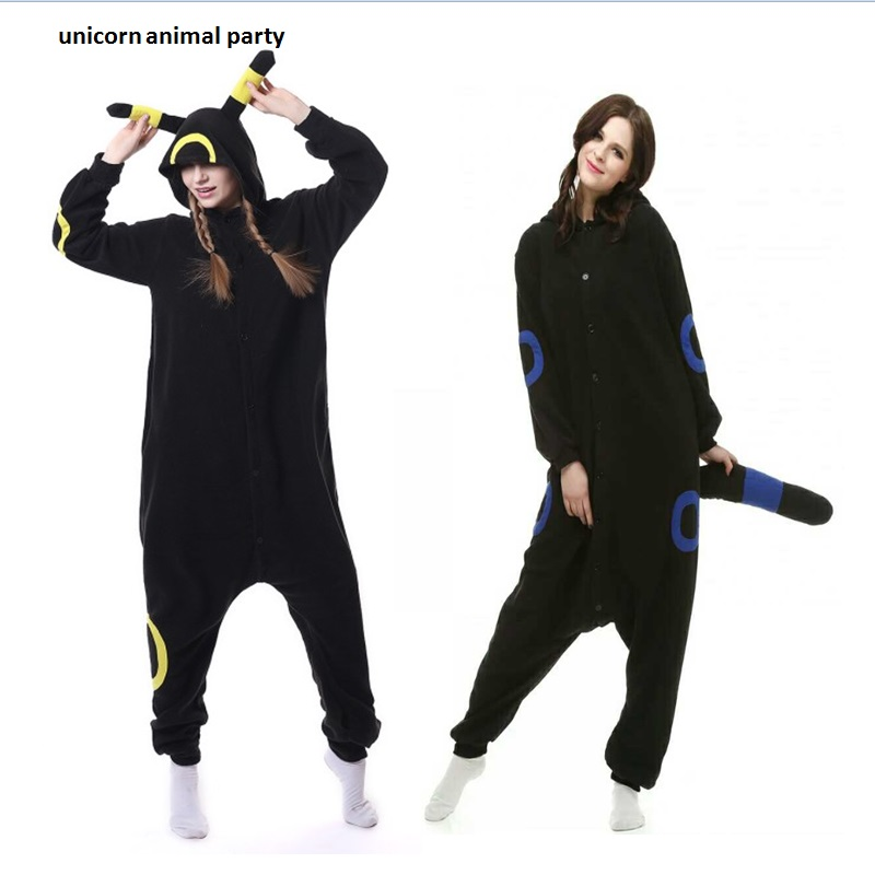 Kigurumi Volwassen Umbreon Rompers Anime Pokemon Cosplay Kostuum Winter Nachtkleding Pyjama Jumpsuit Homewear Vrouwen Man hoodies
