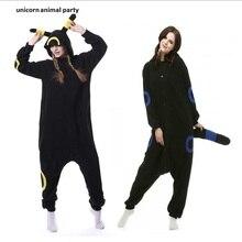 Kigurumi 성인 Umbreon Onesies 애니메이션 코스프레 의상 겨울 잠옷 잠옷 점프 슈트 Homewear Women Man hoodies