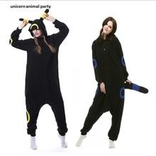 Kigurumi yetişkin Umbreon Onesies Anime Cosplay kostüm kış pijama pijama tulum gecelik kadın adam hoodies
