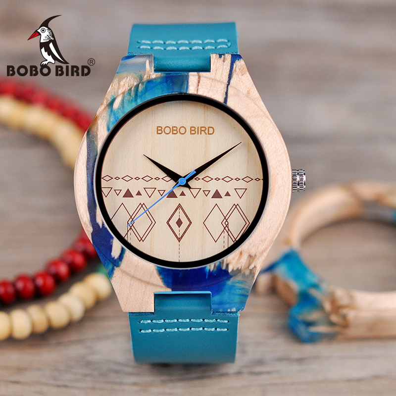 BOBO BIRD Top Brand Men Watch Wooden And Resin Case Leather Quartz Watches Relogio Masculino In Gift Box V-S07