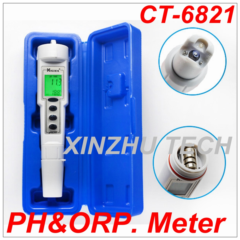 New CT-6821 Automatic Calibration Digital Waterproof pH & ORP Meter Portable Pen Type Range 0.0~14.0pH Water Analyzer Control digital pen type ph meter waterproof portable ph acidity meter water analyzer 0 to14 ph ct 6022