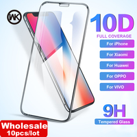 WK Wholesale 10Pcs/lot 10D Curved Tempered Glass Screen Protector for iPhone 6 6S 7 8 Plus X XR XS Max Huawei Xiaomi Vivo Oppo