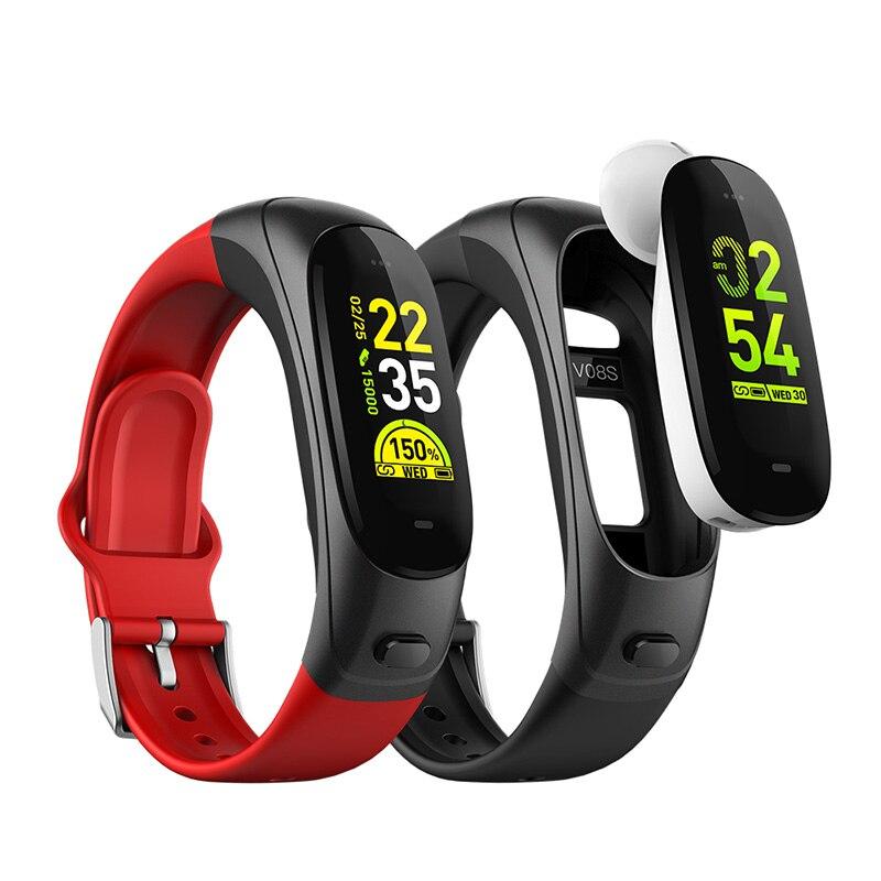 V08s Bluetooth casque Bracelet 2 en 1 Bracelet intelligent 0.96